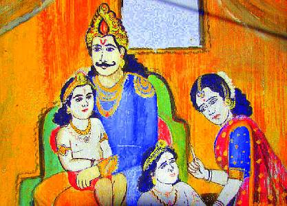 Young-Dhruva-Maharaja-is-denied-a-place-on-his-father-Uttanapadas-lap-by-his-stepmother-Suruchi